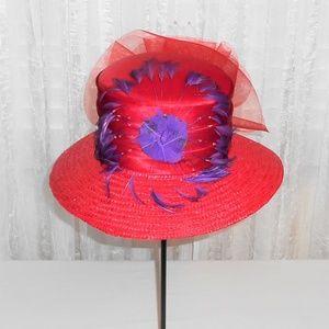 Red Hat Society Custom Straw Dress Derby Party Hat